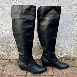 J. Lo NWOT Knee High Boots-Black w Gold Zipper